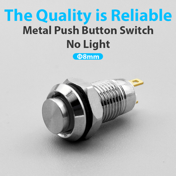 8mm Metal Push Button Switch 2 Pins Self-locking/Latching Self-reset/Momentary Waterproof Normally Mini button switch - sale item Electrical Equipment & Supplies