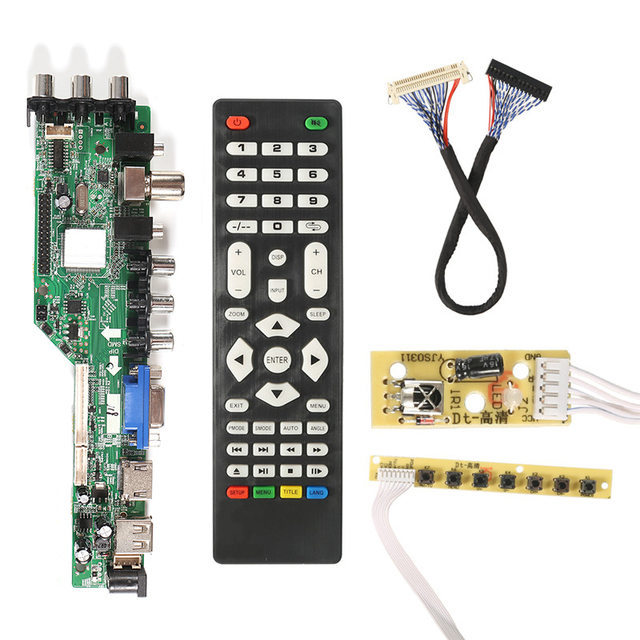 3663 New Digital Signal DVB T2 DVB T DVB C Universal LCD TV Controller Driver Board+7 Key Button+ 1Ch6bit40pin 3463A Russian v56