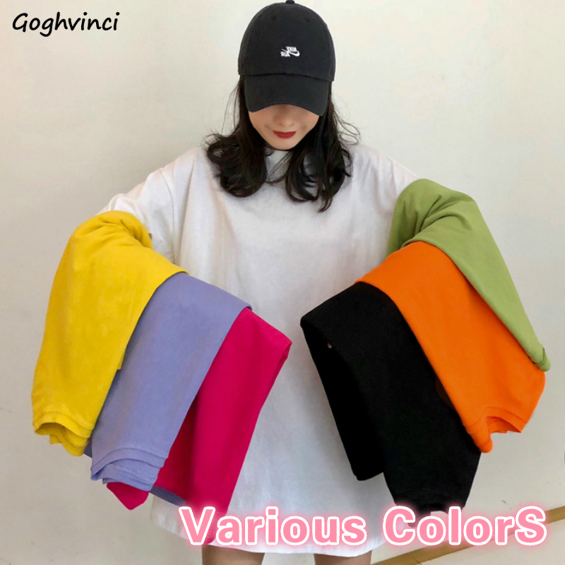T-shirt Women Solid O-neck Short Sleeve Daily Fashion Various Colors Comfortable Oversize Loose Harajuku Simple Womens Tshirt