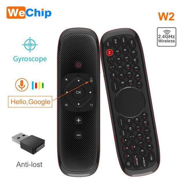 W2 mouche Air souris voix télécommande Microphone 2.4G sans fil Mini clavier Gyroscope pour Smart Android tv box Projecter pk mx3
