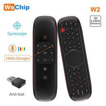 W2 voar ar mouse voz controle remoto microfone 2.4g sem fio mini teclado giroscópio para inteligente android tv caixa projecter pk mx3