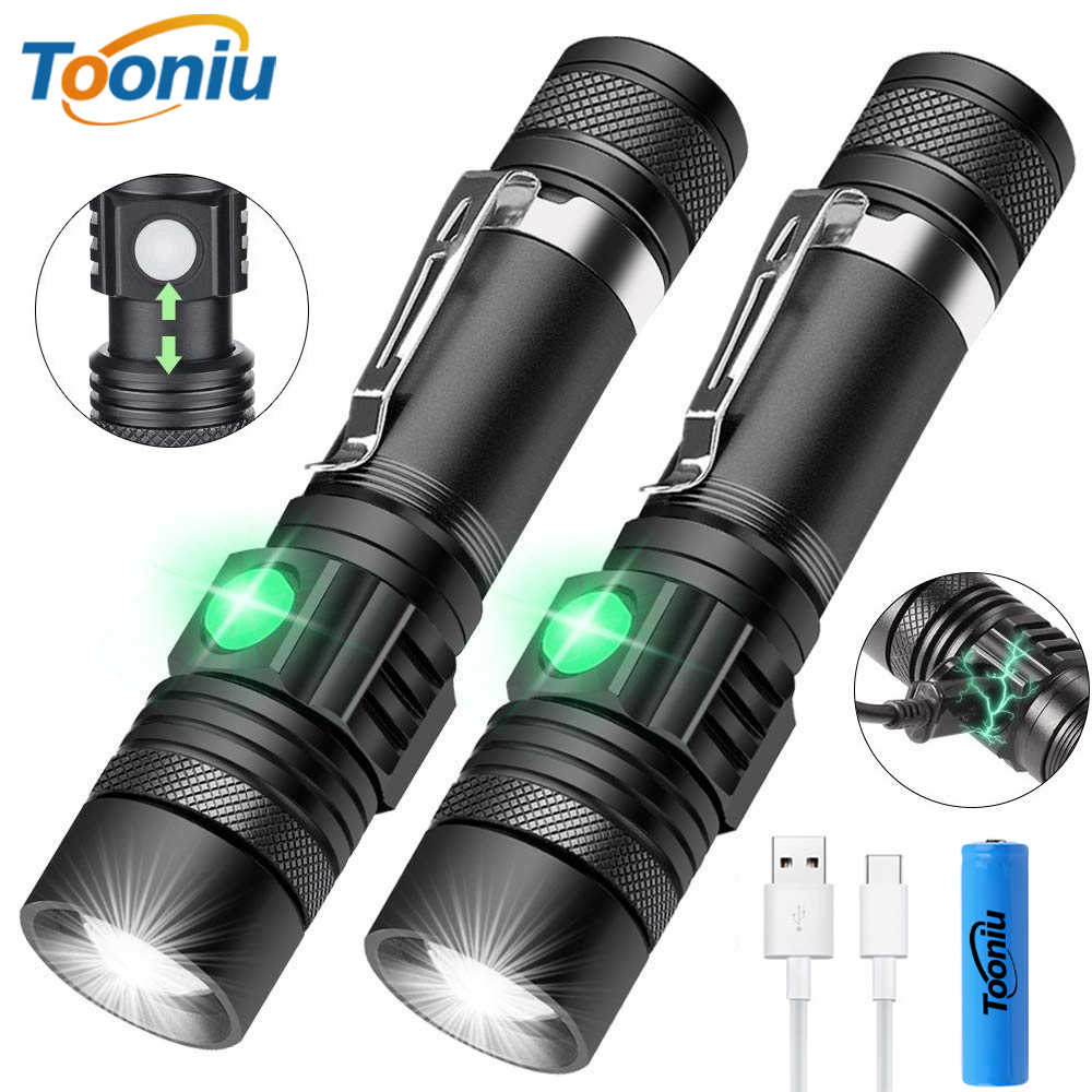 USB Rechargeable LED Flashlight Super Bright 3 Lighting Mode Tactical Torch Waterproof Zoom Outdoor Light Using 18650 Battery