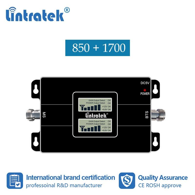 Lintratek 2G 4G 850 1700MHz  Celular Signal Repetidor CDMA 850 AWS 1700 Booster GSM LTE B4 B5 Amplificador For Mexico 65 DB #25