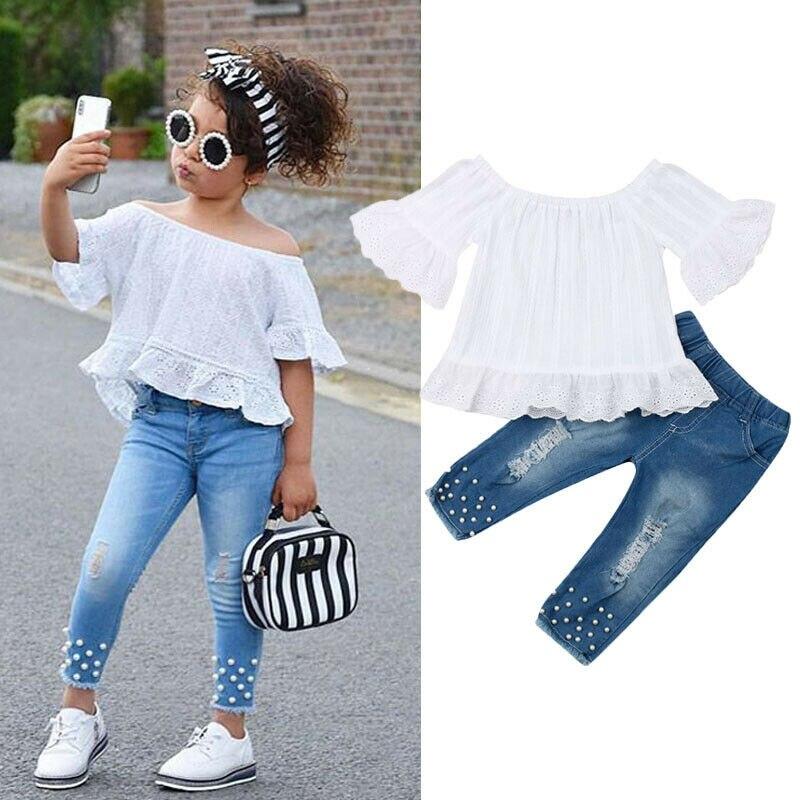 1-6T Kids Clothes Set Toddler Girls Outfit Summer Off Shoulder Flare Sleeve Top+Hollow Jeans Children Clothing Set 2pcs 2019