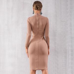 Image 4 - الشتاء الخريف المشاهير مساء حفلة Bodycon ضمادة فستان المرأة طويلة الأكمام س الرقبة أنيقة مثير ليلة خارج فستان المرأة Vestidos