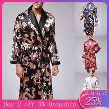Męskie męskie szaty z długim rękawem szlafrok jedwabne kimono piżama z nadrukiem szlafrok nocny szlafrok 2 tanie tanio ISHOWTIENDA Regular Skręcić w dół kołnierz 0419 Drukuj Full Satin Mężczyźni Poliester