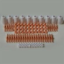 Hoge Kwaliteit PT31 LG40 Mes Plasma Cutter Snijbrander Verbruiksartikelen Uitgebreide Tool Kit Tip + Elektrode Ring Cup 90PK