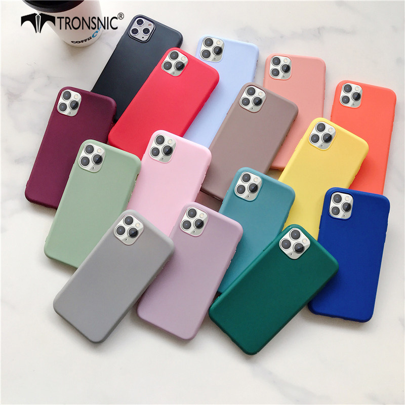 Solid Green Color Phone Case for iPhone 11 Pro Max XR X XS MAX Matte Black Blue Soft Luxury Case for iPhone SE 6s 7 8 Plus Cover