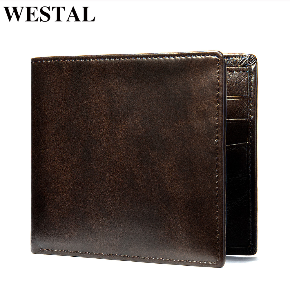 WESTAL Men's Purse Genuine Leather Thin Wallets Slim Mens Leather Wallet Bifold Mens Wallets For Cards Male Purse Carteira 7608