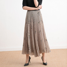 Fold Skirt Medium length 2019 New style in autumn and winter Fashion Printing High waist Skinny A word Pleated skirt