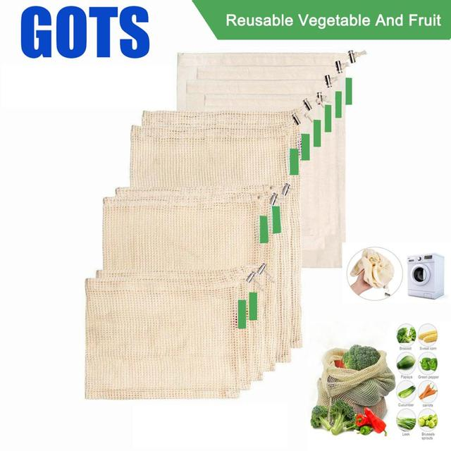9pcs Cotton Mesh Vegetables Storage Bag for Kitchen Eco friendly reusable vegetable and fruit ecological bags with Drawstring