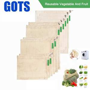 9pcs Cotton Mesh Vegetables Storage Bag for Kitchen Eco-friendly reusable vegetable and fruit ecological bags with Drawstring