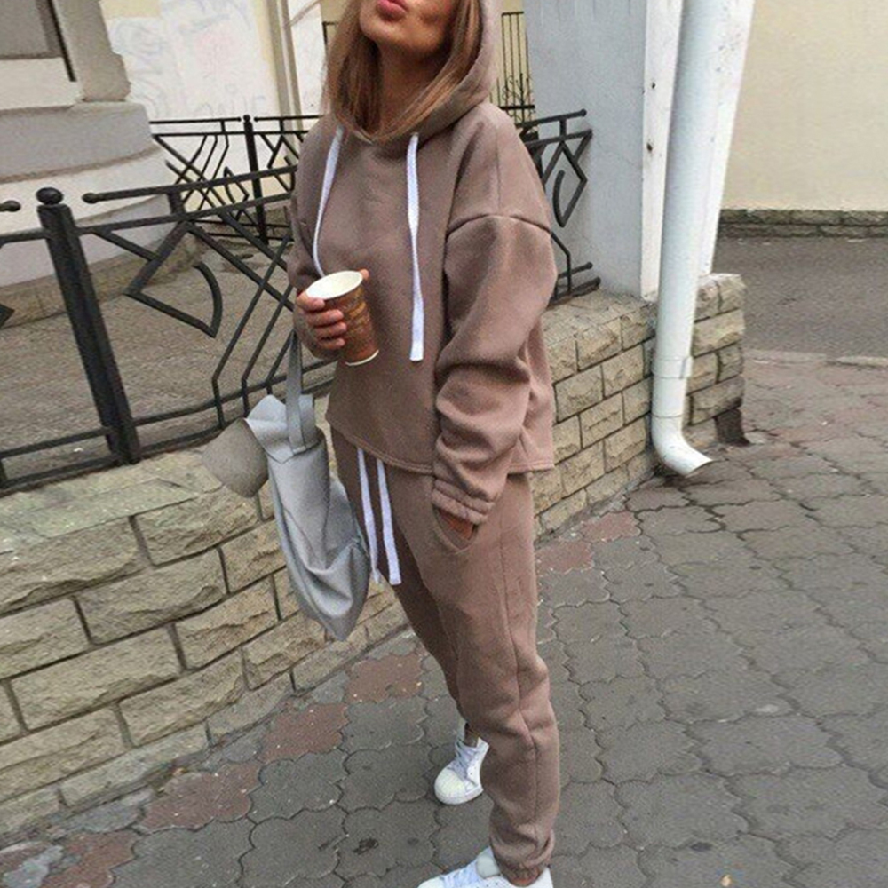 PUIMENTIUA 2019 Autumn Solid Tracksuit Long Sleeve Thicken Hooded Sweatshirts 2 Piece Set Casual Sport Suit Women Tracksuit Set