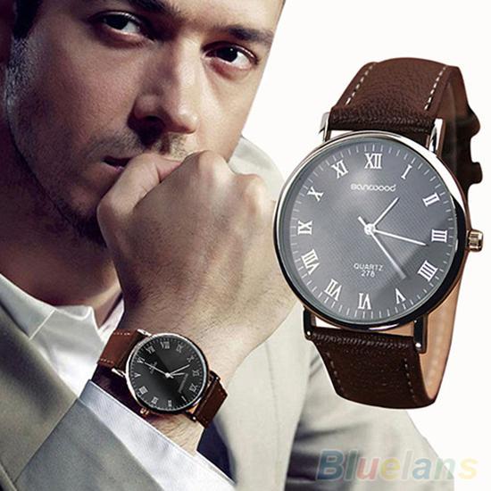 Casual Men Wrist Watch Roman Numerals Alloy Dial Faux Leather Band Quartz Clock Analog Business Wrist Watch Reloj Hombre