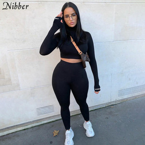 Nibber Solid Color Casual Fitness Outfit Sporty Women Bodycon Tracksuit Autumn Winter Crop Tops Leggings 2 Two Piece Suit Female