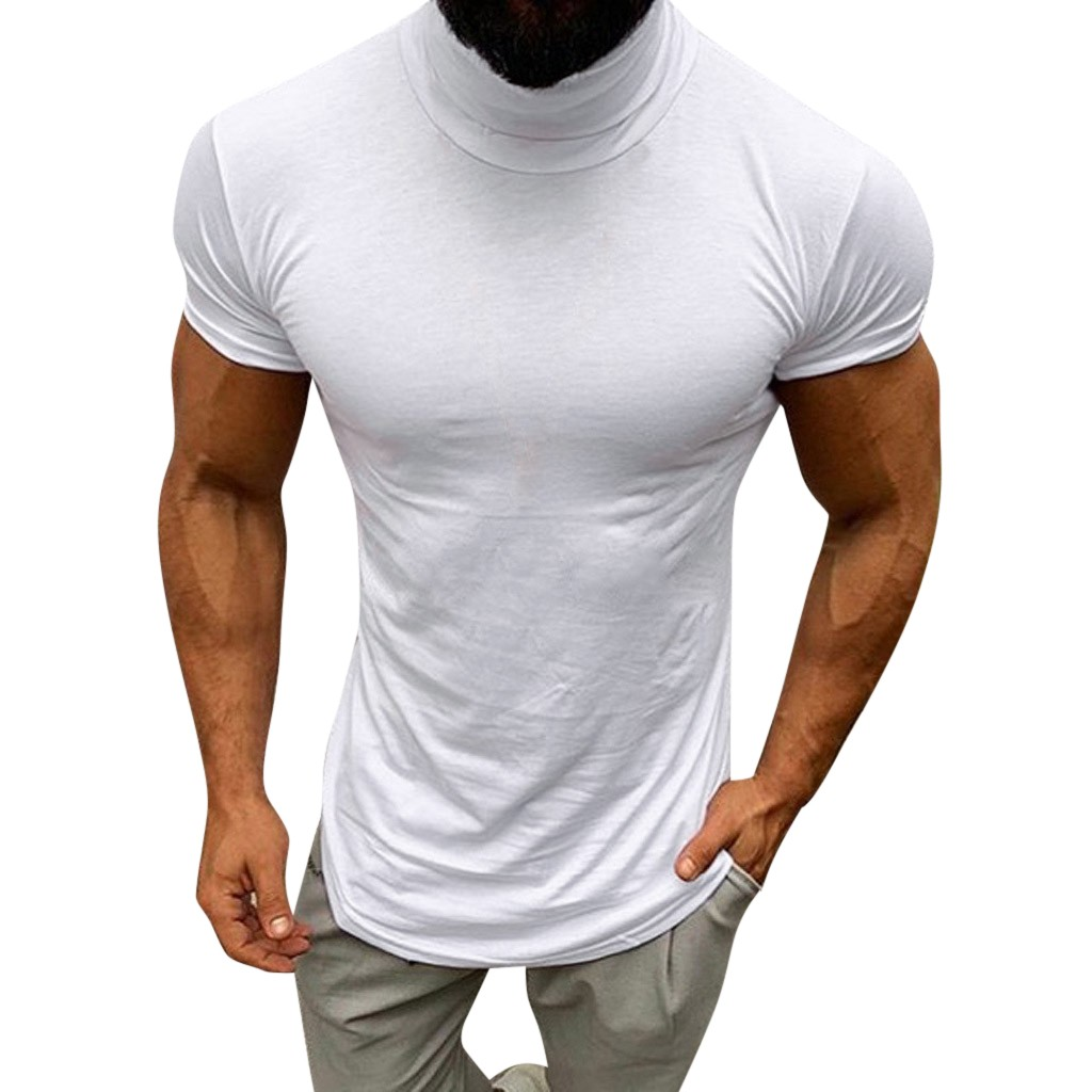 T-Shirt Men Casual Spring Summer Solid Color Short Sleeve Turtleneck Tops Blouse Shirts Short Sleeve Loose Buttons T Shirt