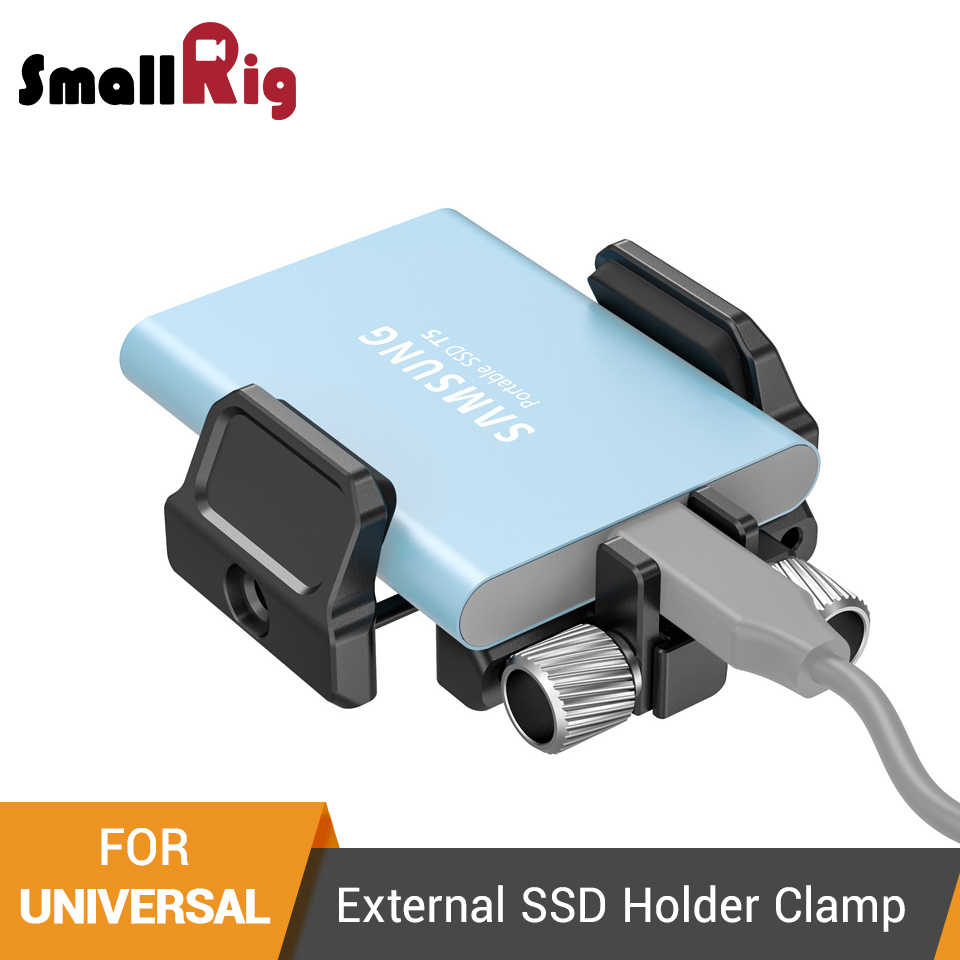 "SmallRig Universal Holder for External SSD Holder Clamp With Cold Shoe and 1/4""-20 Screws - 2343"
