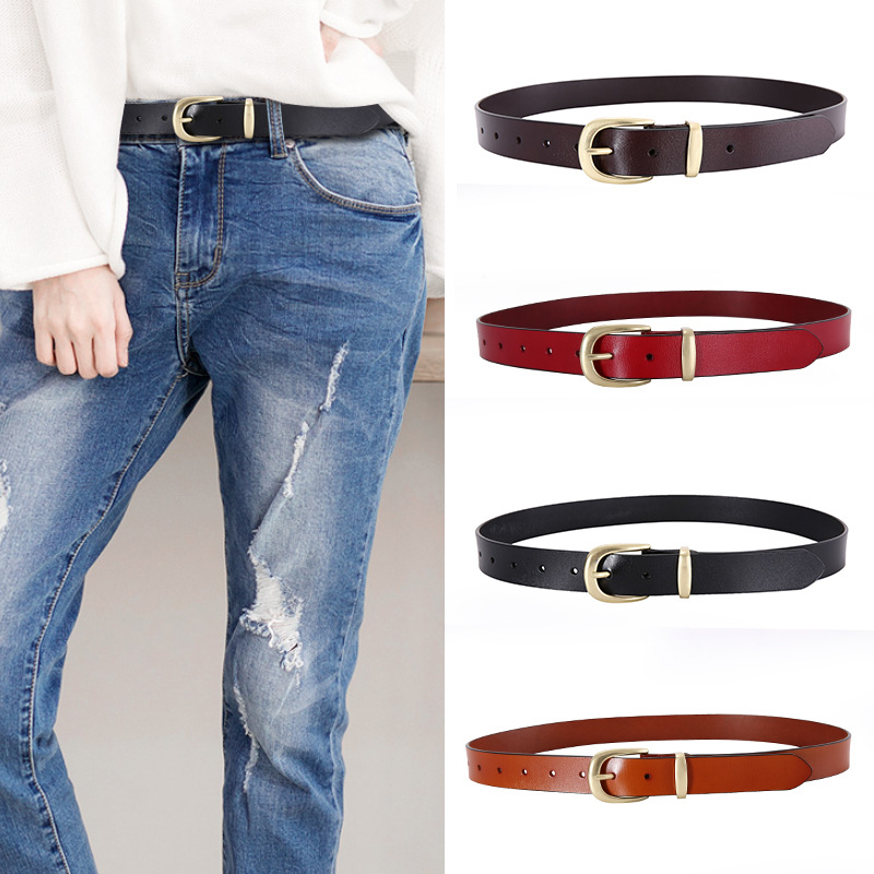 Women Jeans Belt Wide 2.8cm Genuine Leather Waistbrand Female Casual Ladies Pin Buckle Belts for Women Summer Dress Wild Strap