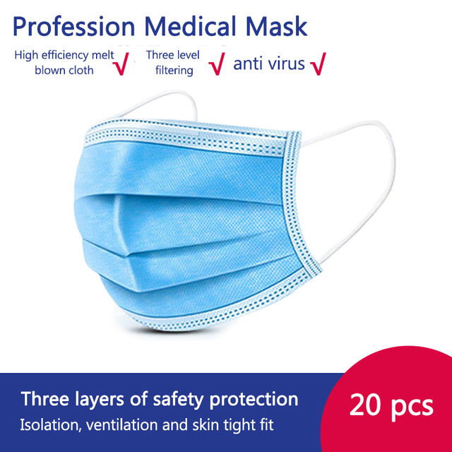 50/100 Disposable Men Face Mask 3 Ply Protective meltblown Proof Flu Virus Elastic Soft Breathable Hygiene Safety Mouth Facemask 3