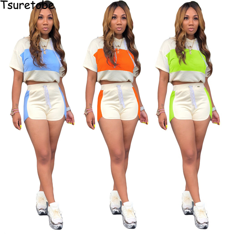 Tsuretobe Patchwork 2 Piece Set Women Tracksuit Summer Outfits Hoodie Crop Top And Shorts Suits Casual Matching Sets Clothes