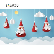 Laeacco Santa Claus Merry Christmas Festivals Party Pendant Decor Baby Photo Backgrounds Photography Backdrops For Studio