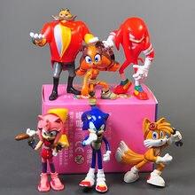 6 pçs/set sonic figura de ação brinquedos pvc boom raro dr. eggman sombra modelo estatuetas boneca