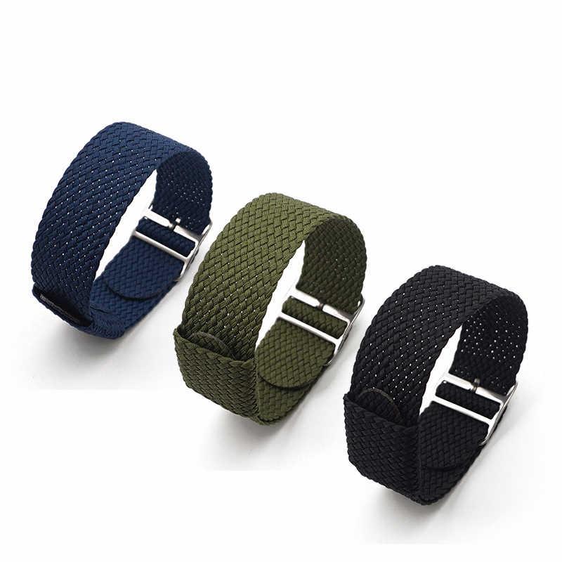 """גבוהה באיכות אופנה נאט""""ו ניילון רצועות ארוג רצועת השעון 20mm 22mm עבור Perlon כחול צבע החלפת שעון רצועה"""