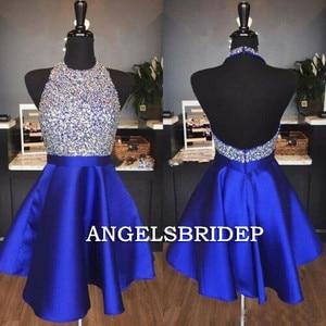 ANGELSBRIDEP High Neck Short Homecoming Dresses Junior Vestidos de festa Formal Sparkly Beaded Graduation Formal Party Gowns