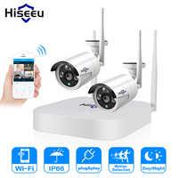 Hiseeu 4CH 1080P Drahtlose CCTV Kamera System Wifi 2 stücke 2MP Metall Wasserdicht IP Kamera Im Freien Sicherheit Video Überwachung kit