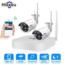 Hiseeu câmera de vigilância externa, 4ch 1080p sem fio cctv sistema wi fi 2 peças 2mp metal à prova d água ip externa vigilância kit de