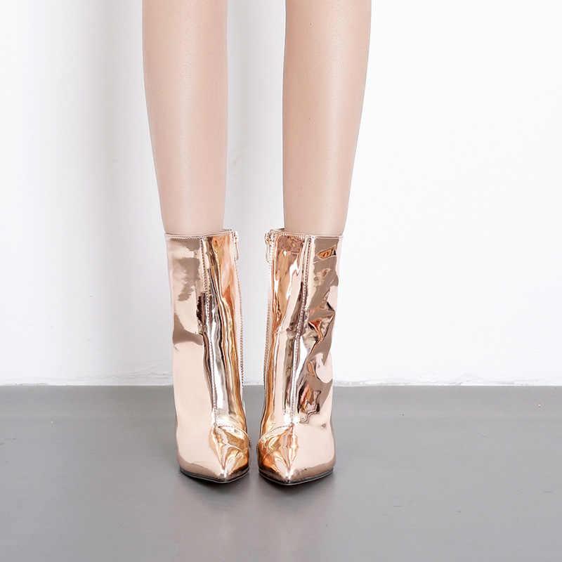 Yeeloca Thời Trang Vàng Bạc Bằng Sáng Chế Da Nữ Cổ Chân Giày Nhọn Cao Gót Giày Gợi Cảm Đế Nữ Bơm Giày Chelsea Boot