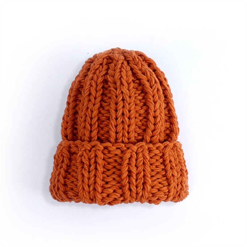 Women Winter Knitted Beanies Hat Thick Soft Warm Coarse Large Knitted Solid Hat Female Ice Ski Bonnet Skullies Beanies Hat Cap 204
