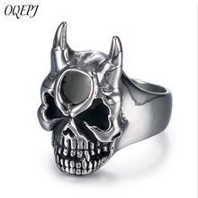 OQEPJ Punk Style Personality Skull Rings 316L Stainless Steel Unique Exquisite Men Ring Simple High Quality Titanium Jewelry