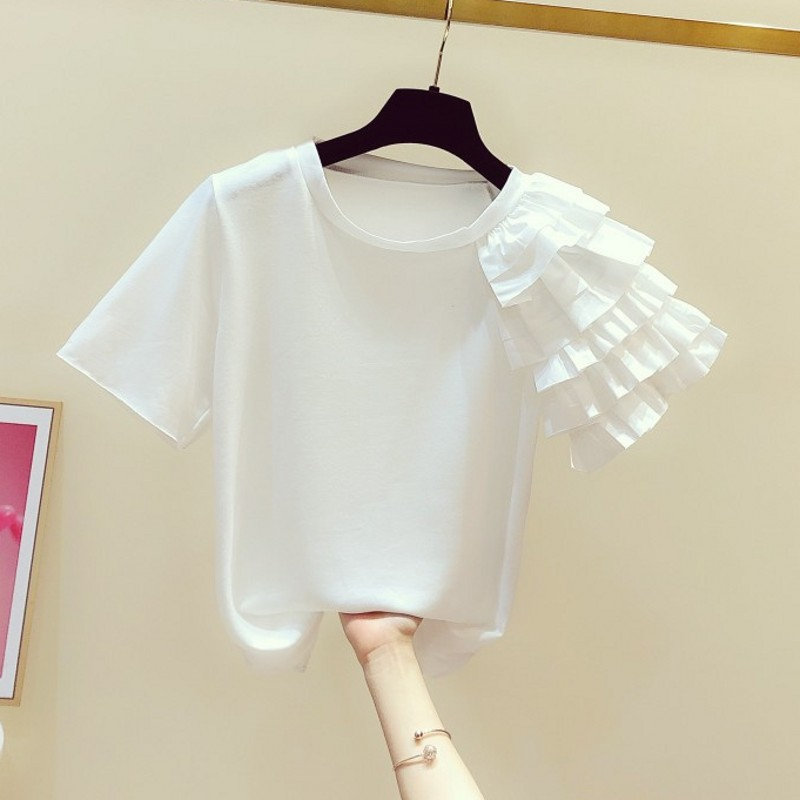 T-shirt For Women 2020 Spring Summer Wear New Shoulder Flounced Short Sleeve Round Collar T-shirts Lady's Tops T Shirt White Tee