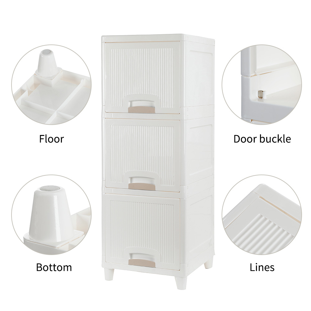 【US Warehouse】3-Tire Storage Cabinet With 2 Drawers Organizer Unit For Bathroom Bedroom