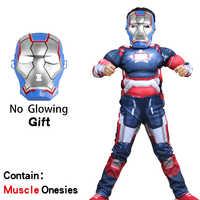 Disfraz de superhéroe para niños, traje de hulk, iron, flash Bat, anime, musculoso