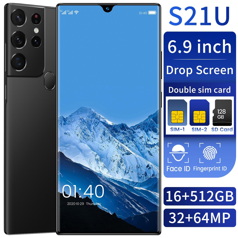 S21U 16GB RAM 512GB ROM Android11 6800mAh Big Battery Deca Core CPU Mobile Phone 6.9 Inch 32+64MP Rear Cameras Newest Smartphone