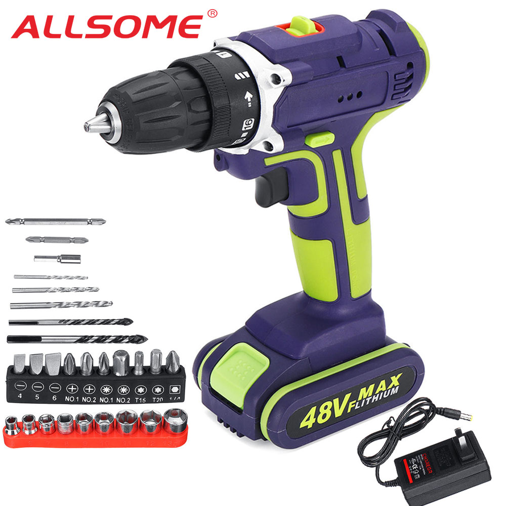 ALLSOME 3 In 1 Hammer Drill 48V Cordless Drill Double Speed Power Drills LED Lighting 50Nm 25+1 Torque Electric Drill