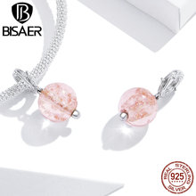 BISAER Pink Murano Glass 925 Sterling Silver Charms Authentic Beads fit Original Bracelet Necklace DIY Jewelry Making HSC1496 new green murano glass beads fit women charms silver 925 original bracelet 2020 925 sterling silver diy fashion jewelry making