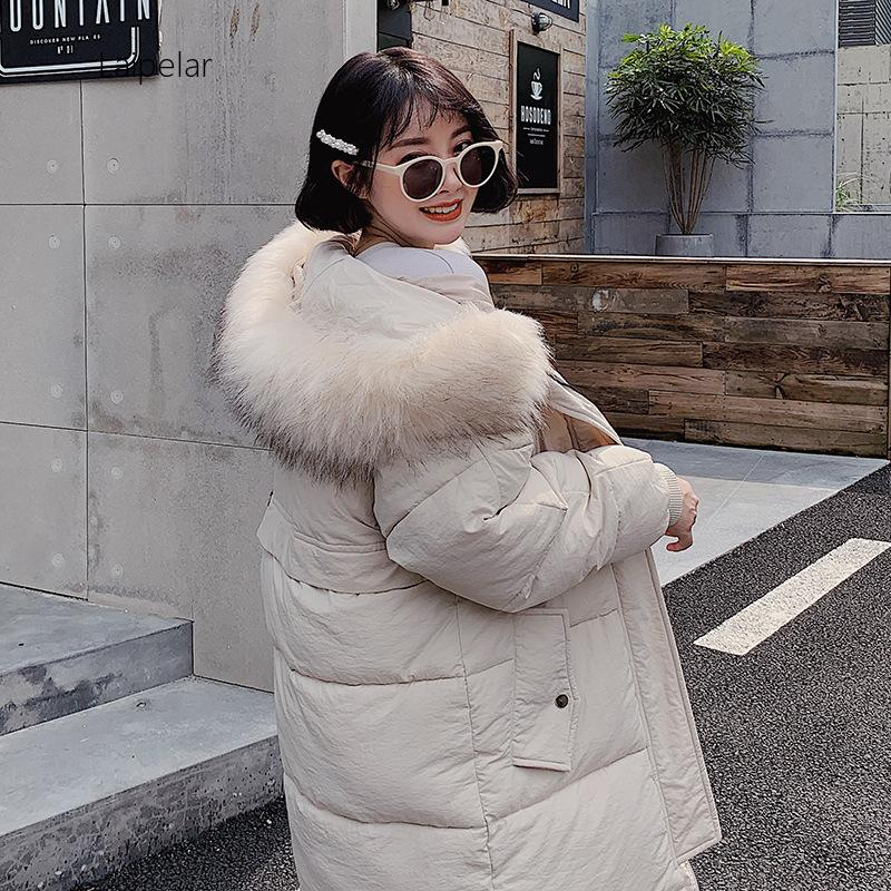 Winter Jacket Women Plus Size Womens Parkas Thicken Fur Collar Outerwear Solid Hooded Coats Long Female Cotton Padded Tops