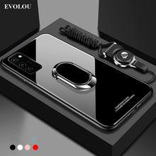 Para Samsung S20 FE caso edición 5G vidrio templado con anillo soporte titular de la contraportada para Samsung S20 Plus Nota 20 Ultra