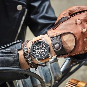Image 5 - Megir Nieuwe Mode Heren Horloges Topmerk Luxe Grote Wijzerplaat Militaire Quartz Horloge Lederen Waterdichte Sport Chronograaf Horloge Mannen