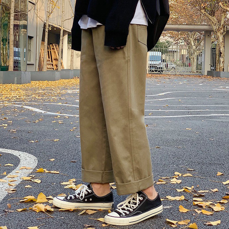 Autumn Men Korean-style Trend Beam Leg Capri Pants Sub-Loose-Fit Casual Pants Pendant Sense Straight-Cut Loose Pants Popular Bra