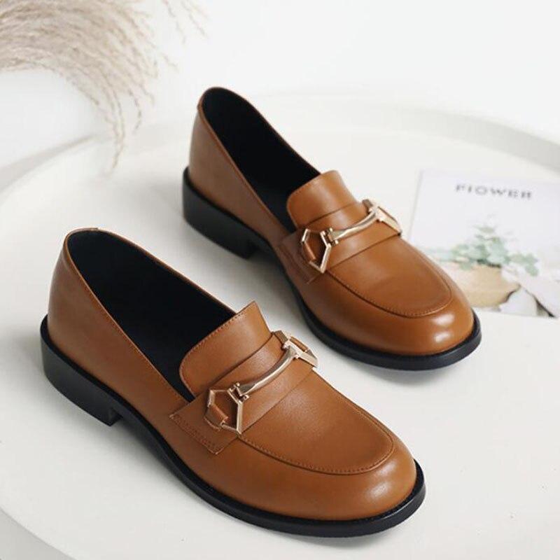 Sapatos femininos oxford sapatos de trabalho formal calçado preto apartamentos deslizamento on retro couro genuíno sapatos femininos de casamento mocassins - 4