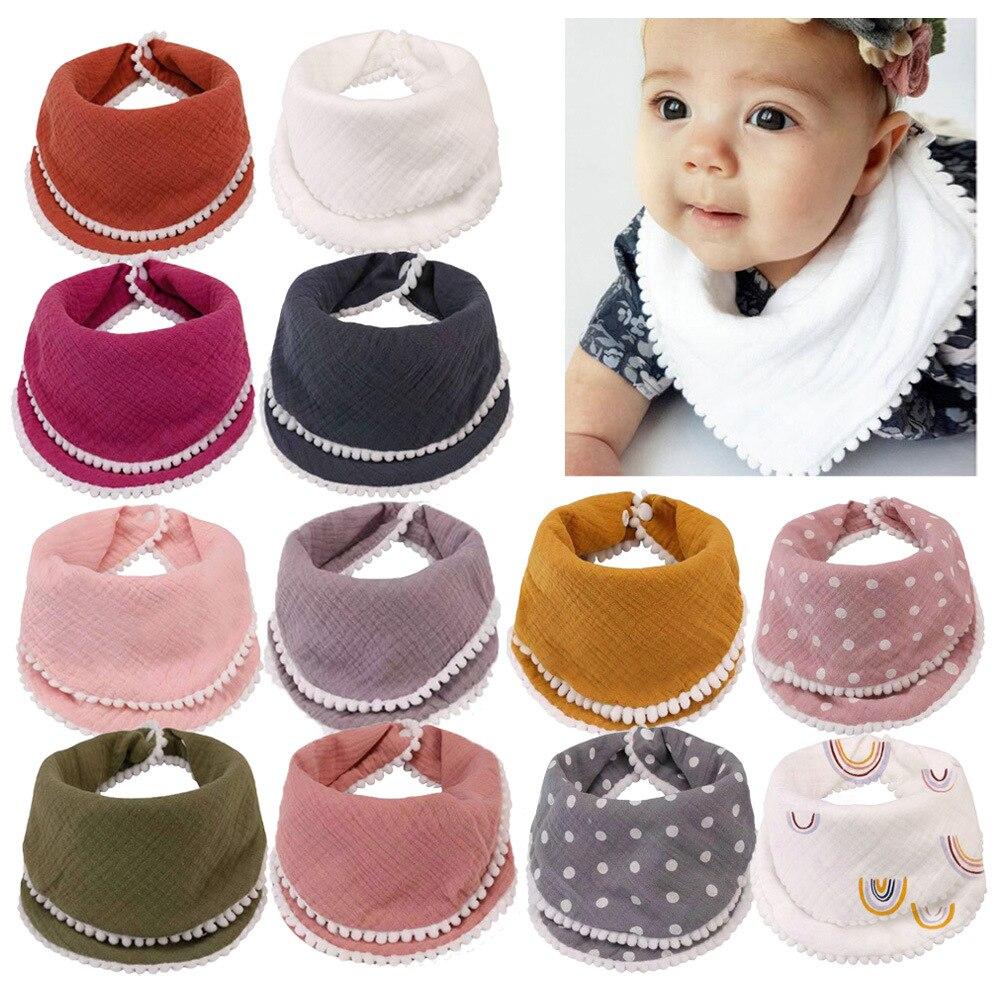 Детские нагрудники мягкий двойной хлопок марлевые нагрудники с кружевом абсорбент новорожденных младенцев Слюнявчики для кормления, поло...