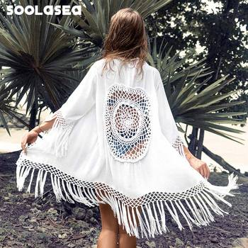 Soolasea boho White Tassel Crochet Bikini Cover Up Sexy Back Cut Out Kimono Women 2020 Beach Bathing Suit Beachwear Tunic Shirt цена 2017