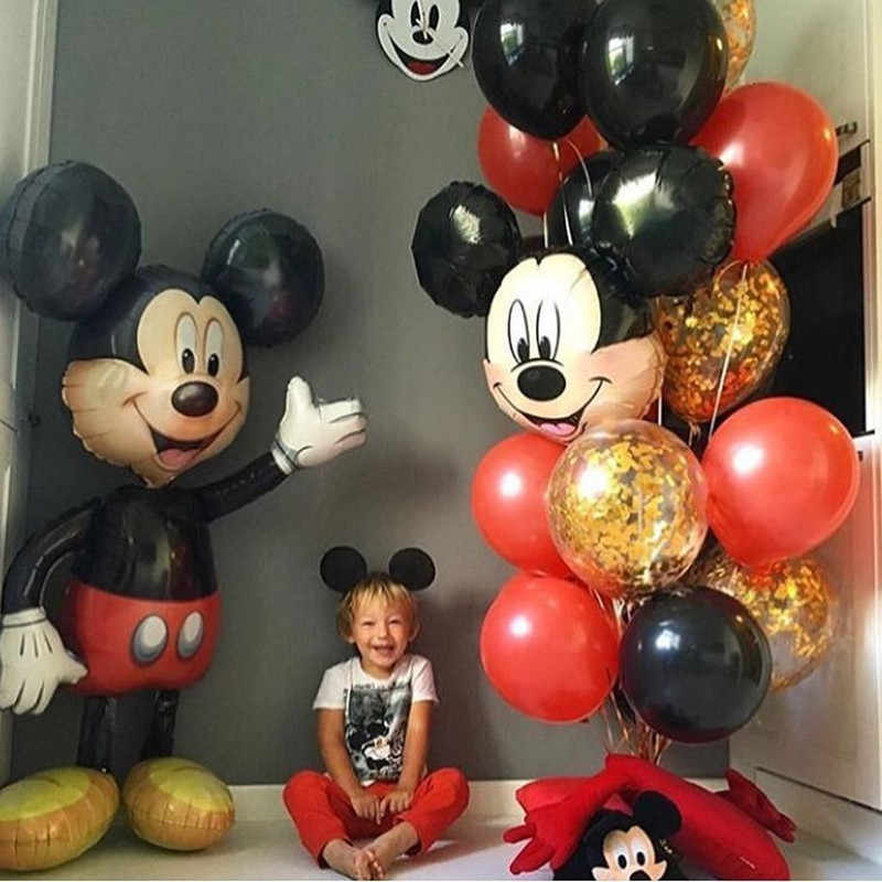 1pcs 116*64cm Large stand Mickey Minnie Foil Balloons Classic Toys inflatable helium balloon birthday balloon party supplies