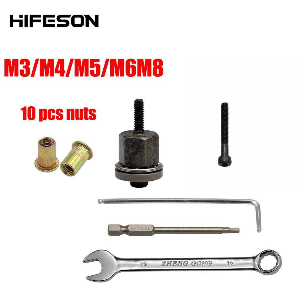 Ręcznie nakrętka nitu głowica pistoletu z 10 sztuk nakrętki proste nakrętka nitu instalacji ręczny Riveter narzędzie do nakrętek akcesoria do orzechów M3 M4 M5 M6 M8