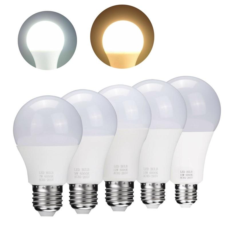 E27 E26 LED Globe Bulb Light 3W 5W 7W 9W 12W 15W 18W Cool Warm White Lamp 85-265V For Chandeliers Energy Saving Light Bombillas