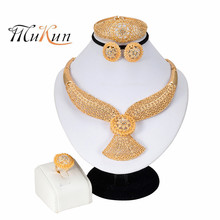 MUKUN 2019Nigeria Jewelry Sets for Women Crystal Necklace Earrings Ring Bracelet Fashion Dubai Gold Jewelry Sets Wedding Jewelry